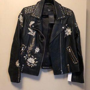 Jackets & Blazers - Joanna Hope leather embroidered studded jacket